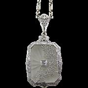 SALE Art Deco 14K White Gold Filigree Rock Quartz Crystal and Diamond Necklace