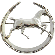 Vintage Silver Plated Horse Brooch