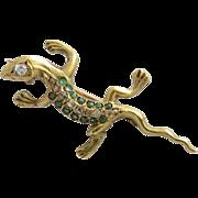 Victorian 18K Yellow Gold Diamond and Emerald Salamander Brooch