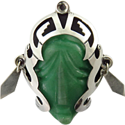 Vintage Sterling Silver Mexican Green Quartz Mask Brooch