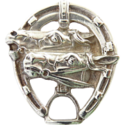 Vintage Sterling Silver Double Horse Head Brooch