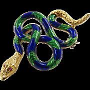 Vintage 18 Karat Yellow Gold Blue and Green Enamel Snake Brooch