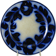 Victorian Spinach Leaf Pattern Flow Blue Plate