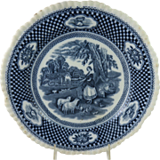 Victorian Blue & White Rural Scene Pattern Transfer Wares Plate