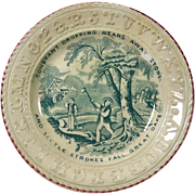 19th Century Child's Green Transfer Ware Alphabet Plate