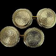 Art Deco 14 Karat Gold Hand Engraved Cufflinks
