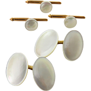Vintage 14K Yellow Gold Larter & Sons Mother of Pearl Cufflink and Stud Set