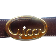 """SALE Gucci Brown Suede belt """"Gucci Script"""" buckle from Italy"""