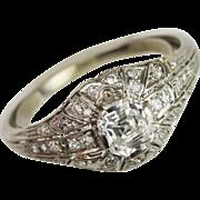 Edwardian 1.03 Carat Asscher Cut Diamond Engagement Ring in Platinum