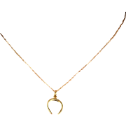 Vintage 14k Gold Tiny Horseshoe Charm Pendant Necklace on Thin 14k Gold Chain