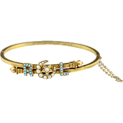 Victorian 14k Gold Pearl and Turquoise Initial Cuff Bracelet - Wedding Bridal Jewelry - RCL /