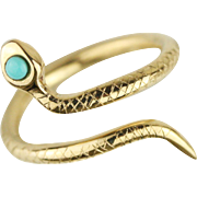 Solid 14k Gold Turquoise Snake Serpent Wrap Ring - Hand Forged Handmade