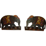 Bronze Elephant Bookends c. 1930 Art Deco Polychrome India Indopersian Decor