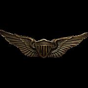 Nice Sterling Pilot Wings Korean War Aviator Made by O.C. Tanner Utah Military Collectible