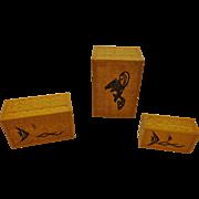 Vintage Midcentury Chinese Nesting Boxes Set of 3 Bamboo Veneer Carp Emblem