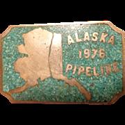 Rare Sterling & Turquoise Alaska Pipeline Belt Buckle 1976 Last Frontier
