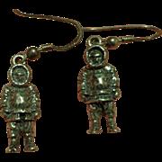 Rare Sterling Silver figural Arctic Explorer Earrings Eskimo Inuit