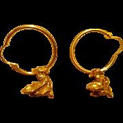 Vintage 10K/14K Gold Alaska Prospector Earrings Mining Last Frontier