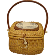 SOLD Vintage Farnum Nantucket Basket Purse w/ Penny Tropical Seagull Signed