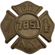 SALE Vintage NYFD Fireman Breast Badge c 1930s Fire Department New York City