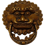 SALE Authentic Antique Chinese Door Knocker / Handle Brass Lion  Asian Art
