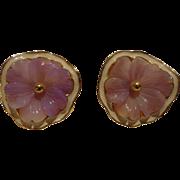 SALE Gorgeous Vintage Kenneth Jay Lane KJL Purple Violet Pansy Earrings Lucite & Enamel