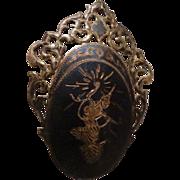 Vintage Siam Sterling Niello Brooch Pin Thai Goddess Dancer Thailand Silver