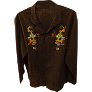 Vintage Chinese Embroidered Dragon Shirt by Soar Size L/XL Asian Clothing