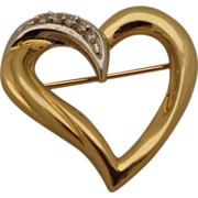Large 14K Gold Heart Pin Brooch Baskin Bros BB Two Tone Yellow & White Gold w ...