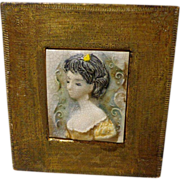 Vintage Italian Tile Majolica Young Lady Framed by Emanuel Terzani