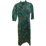 Mid Century Turquoise Silk Chinese Dress Beautifully Stitched Birds Bamboo & Flowers