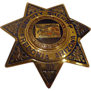 SOLD Rare Arizona Deputy Sheriff Badge Centennial Fredonia Blackinton Hi-Glo Police