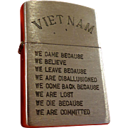 SALE Vintage Vietnam Zippo Lighter Saigon Hanoi In Country Military Army USMC Infantry