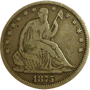 1875 Seated Liberty Silver Half Dollar US Coin