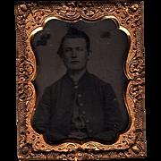 Rare Civil War Confederate Tintype Young Soldier or Cavalryman
