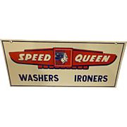 Vintage Art Deco Speed Queen Washers Irons Porcelain Sign Double Sided
