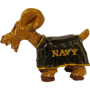 Nice US Navy Wood Carving Carter Hoffman Bill the Goat USN Mascot California Artist