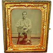 Rare Civil War Era Tintype Armed Gentleman with Embroidered Confederate Rebel Rose Shirt