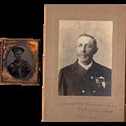 SALE Historical Civil War Tintype Navy Sailor with GAR Veteran Cabinet Photo Massachusetts 8th