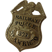SALE Antique DL&W RR Railway Police Badge Delaware Lackawanna & Western Railroad