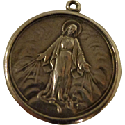 Nice Vintage Sterling Silver Medal of Mother Mary with Miraculous Sacred Hearts Catholic ...