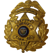 SALE Rare Vintage Shriner's Police Badge Custom-Made Masonic Pima County Arizona Deputy Sherif