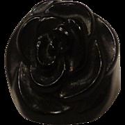 Rare Antique Victorian Rose Flower Mourning Ring Vulcanite