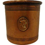SALE Antique Victorian Copper Cup Beaker Trojan Neoclassical Emblem 19th Century