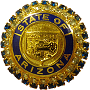 State of Arizona Enamel Brooch with Beautiful Rhinestones