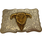 SALE Vintage Sterling Silver Cowboy Belt Buckle Winking Steer Bull Engraved