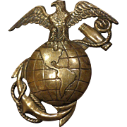 Large WWII Sterling Silver USMC Sweetheart Brooch Pin EGA United States Marine Corps