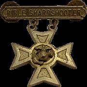 VIntage Vietnam Era Sterling USMC Rifle Sharpshooter Medal Marine Corps