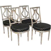 SALE Antique 19th century Louis XVI French Lyre Back chairs, set of four