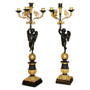 SALE 19th Century Pair of Gilt Bronze French Empire Four Light Cupid Candelabra